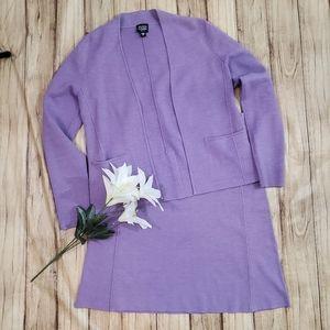 Eileen Fisher 2pc Cardigan Skirt Suit Silk Knit